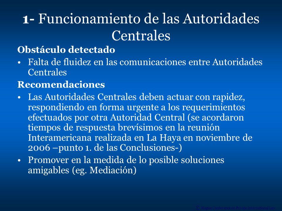 1- Funcionamiento de las Autoridades Centrales