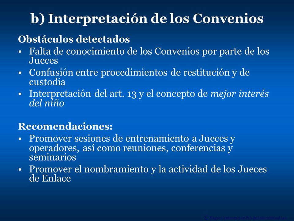 b) Interpretación de los Convenios