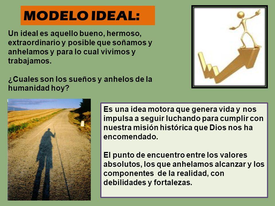 MODELO IDEAL: Un ideal es aquello bueno, hermoso, extraordinario y posible que soñamos y anhelamos y para lo cual vivimos y trabajamos.