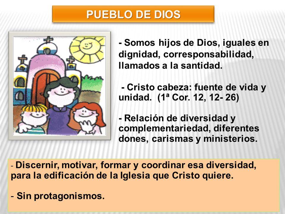 PUEBLO DE DIOS - Somos hijos de Dios, iguales en dignidad, corresponsabilidad, llamados a la santidad.