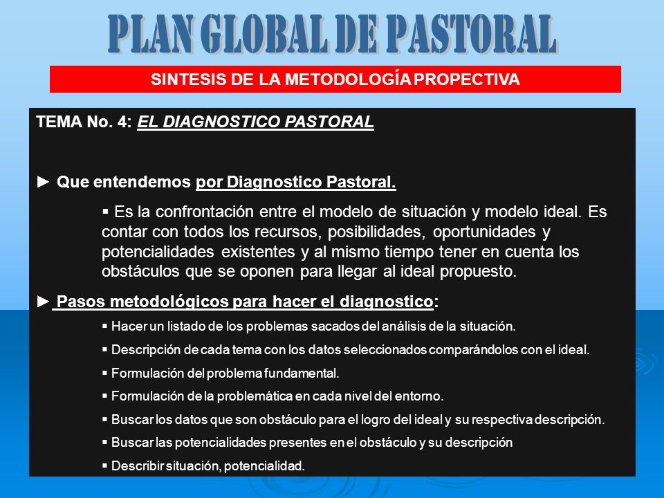 PLAN GLOBAL DE PASTORAL