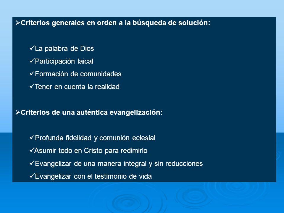 Criterios generales en orden a la búsqueda de solución: