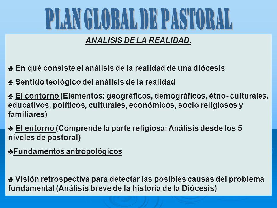 PLAN GLOBAL DE PASTORAL ANALISIS DE LA REALIDAD.