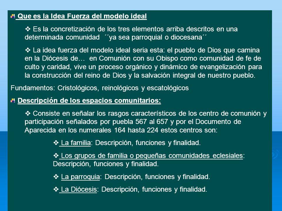 Que es la Idea Fuerza del modelo ideal