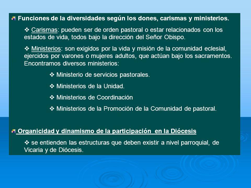 Funciones de la diversidades según los dones, carismas y ministerios.