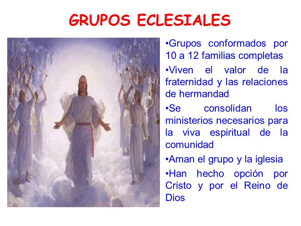 GRUPOS ECLESIALES Grupos conformados por 10 a 12 familias completas