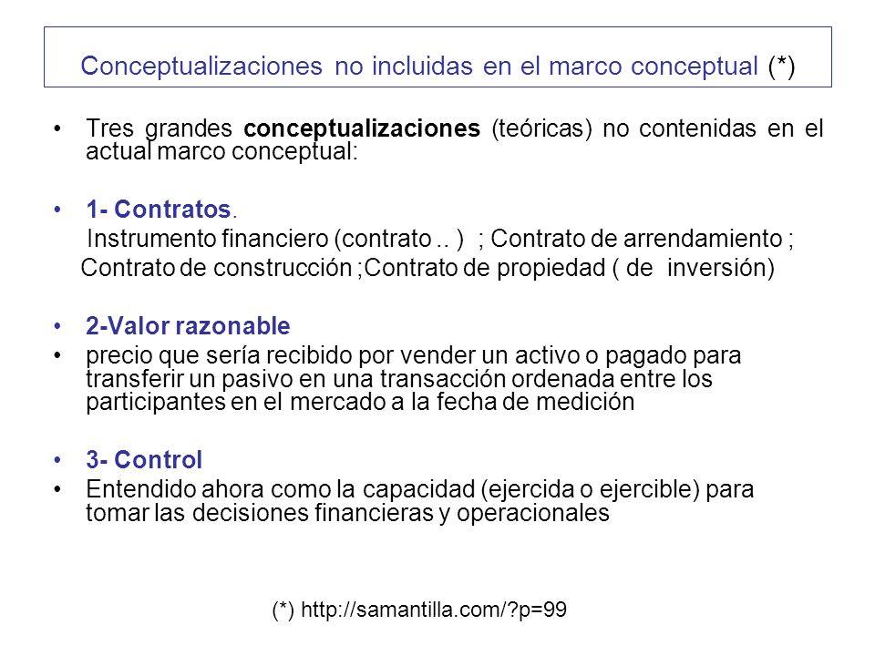 Conceptualizaciones no incluidas en el marco conceptual (*)
