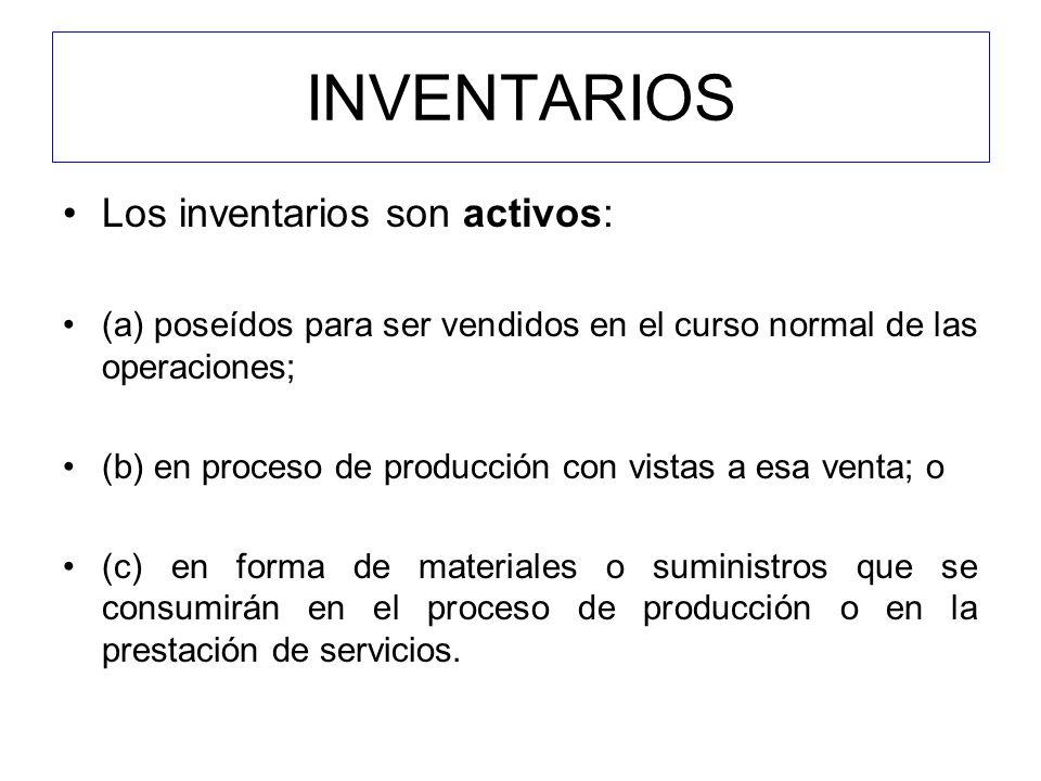 INVENTARIOS Los inventarios son activos:
