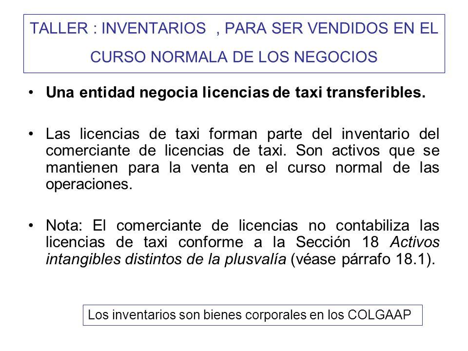 Una entidad negocia licencias de taxi transferibles.