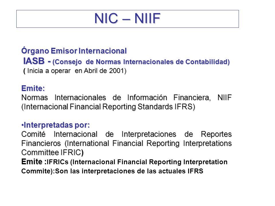 NIC – NIIF Órgano Emisor Internacional Emite: