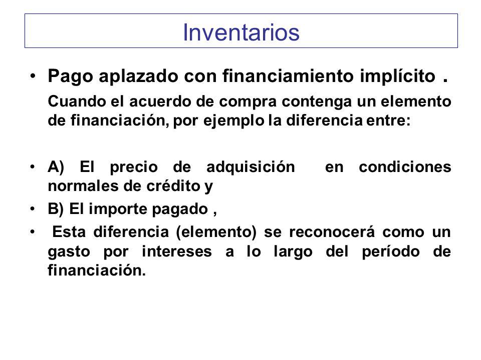 Inventarios Pago aplazado con financiamiento implícito .