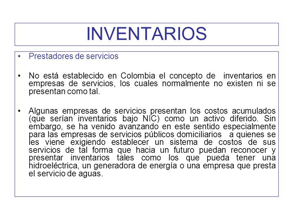 INVENTARIOS Prestadores de servicios
