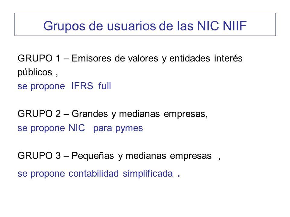 Grupos de usuarios de las NIC NIIF