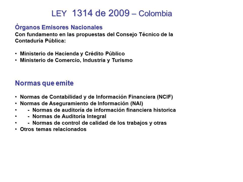 LEY 1314 de 2009 – Colombia Normas que emite