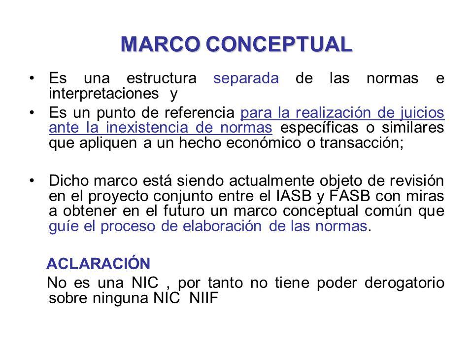 MARCO CONCEPTUAL Es una estructura separada de las normas e interpretaciones y.