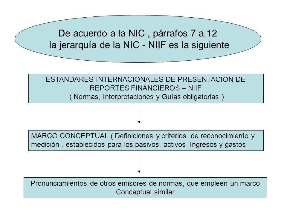 De acuerdo a la NIC , párrafos 7 a 12