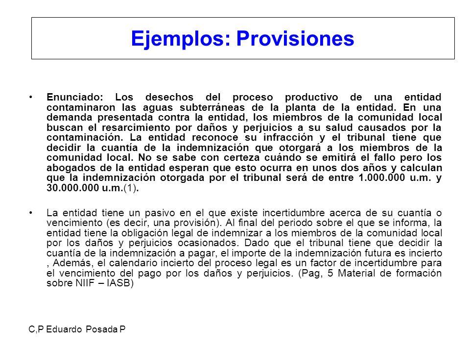 Ejemplos: Provisiones