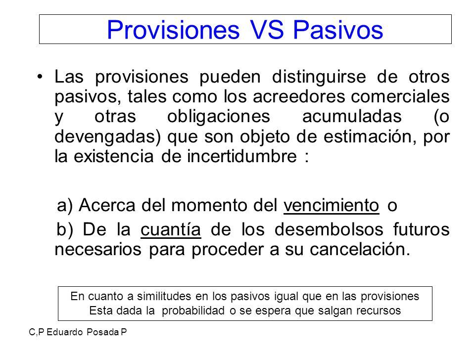 Provisiones VS Pasivos