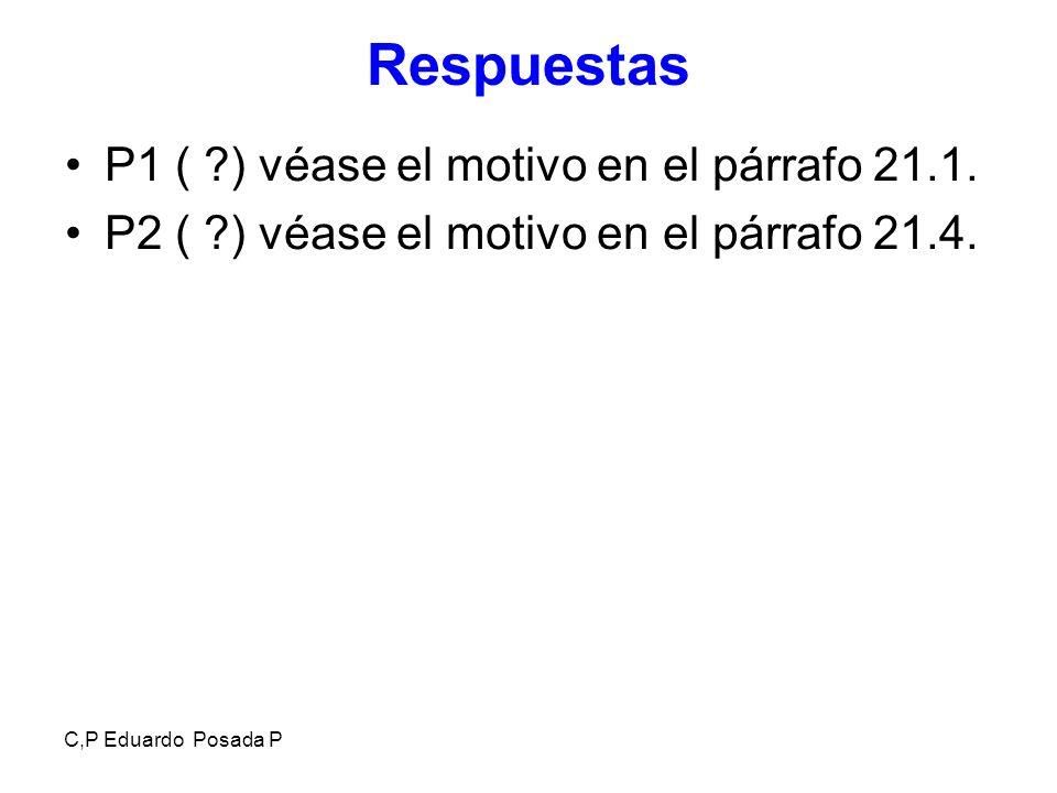 Respuestas P1 ( ) véase el motivo en el párrafo 21.1.
