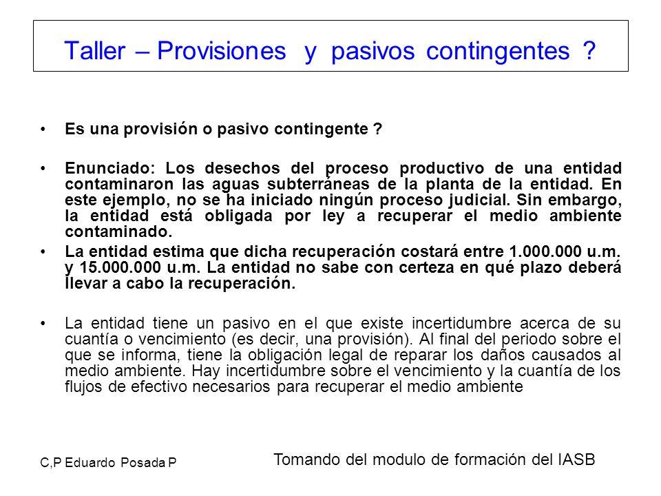 Taller – Provisiones y pasivos contingentes