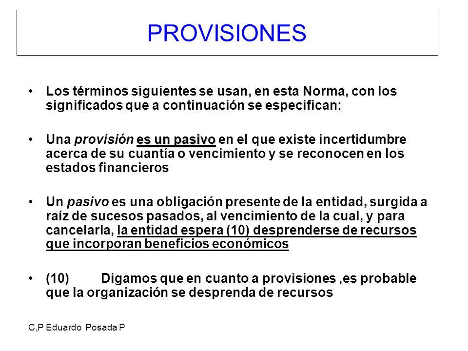 PROVISIONES Los términos siguientes se usan, en esta Norma, con los significados que a continuación se especifican: