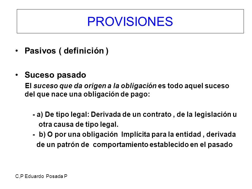 PROVISIONES Pasivos ( definición ) Suceso pasado