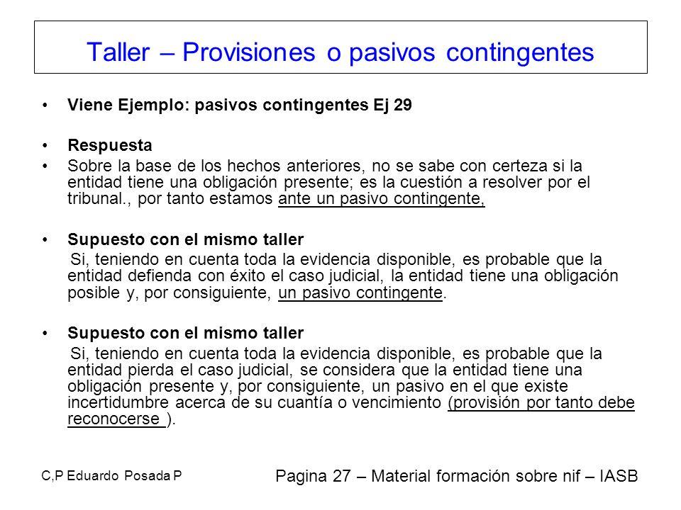 Taller – Provisiones o pasivos contingentes