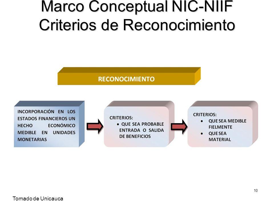 Marco Conceptual NIC-NIIF Criterios de Reconocimiento