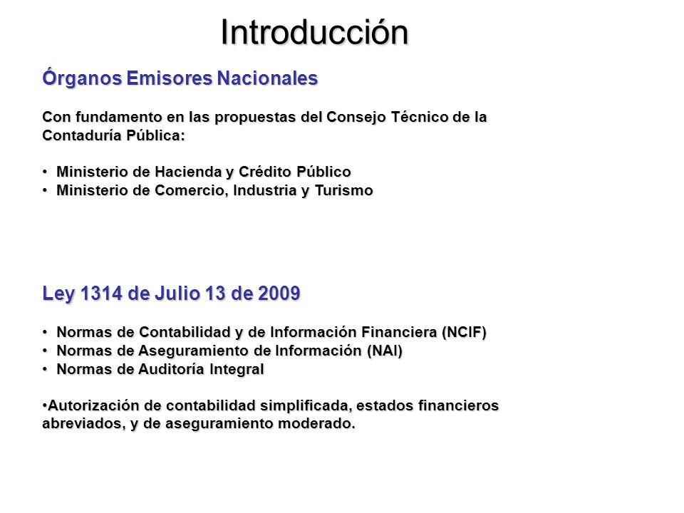 Introducción Órganos Emisores Nacionales Ley 1314 de Julio 13 de 2009