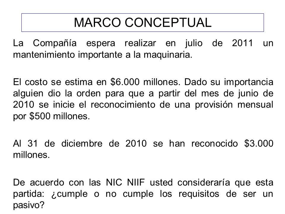 MARCO CONCEPTUAL La Compañía espera realizar en julio de 2011 un mantenimiento importante a la maquinaria.