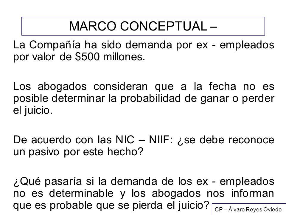 MARCO CONCEPTUAL – La Compañía ha sido demanda por ex - empleados por valor de $500 millones.