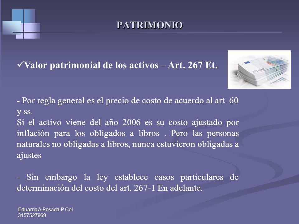 Valor patrimonial de los activos – Art. 267 Et.