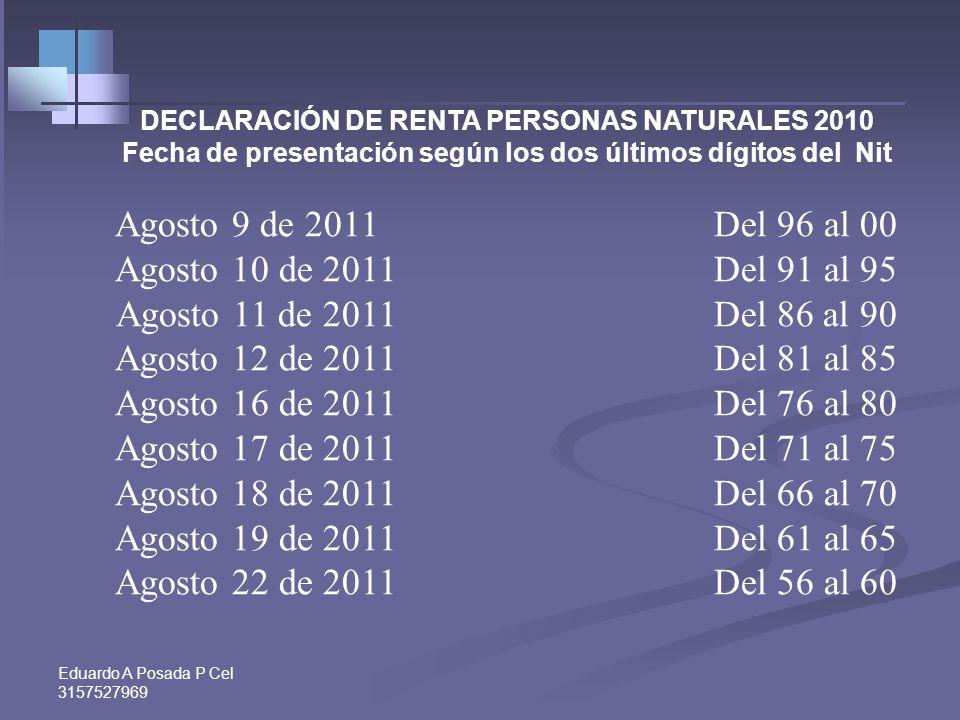 Agosto 9 de 2011 Del 96 al 00 Agosto 10 de 2011 Del 91 al 95