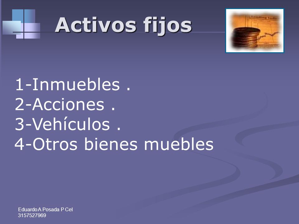 Activos fijos 1-Inmuebles . 2-Acciones . 3-Vehículos .