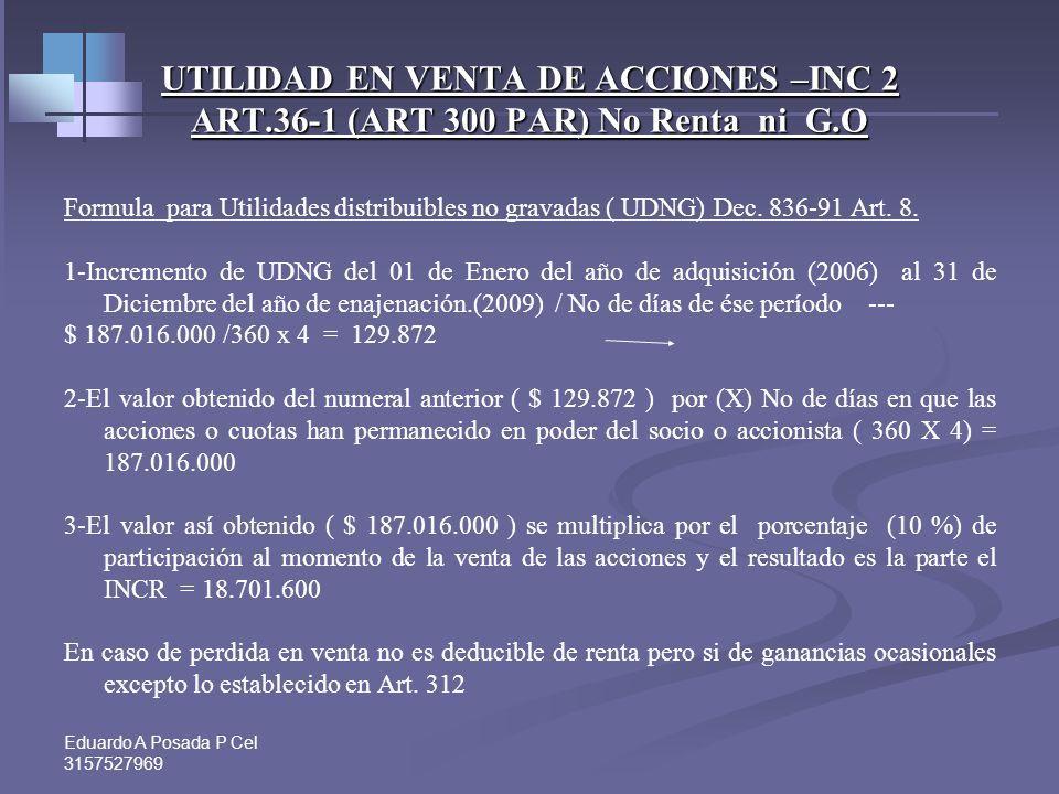 UTILIDAD EN VENTA DE ACCIONES –INC 2 ART