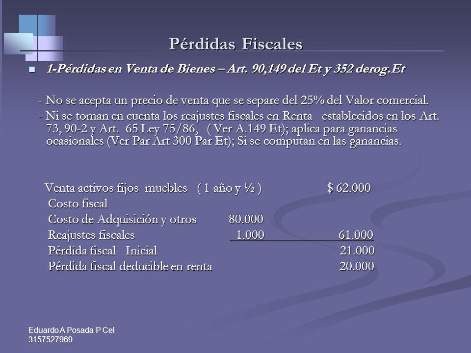 Pérdidas Fiscales 1-Pérdidas en Venta de Bienes – Art. 90,149 del Et y 352 derog.Et.