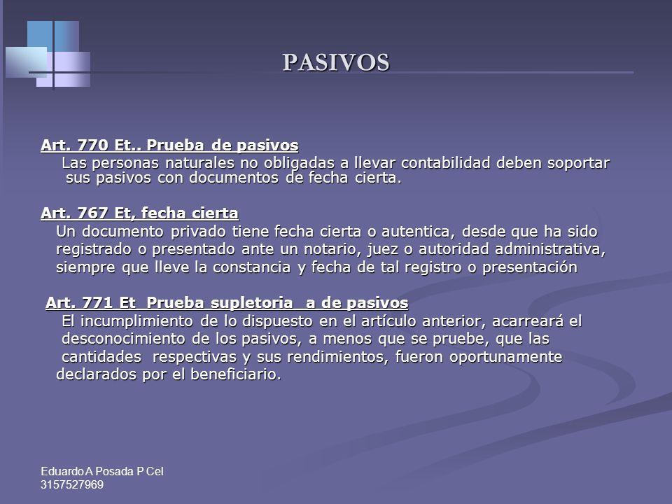 PASIVOS Art. 770 Et.. Prueba de pasivos