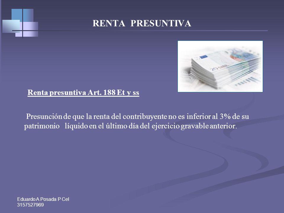 Renta presuntiva Art. 188 Et y ss