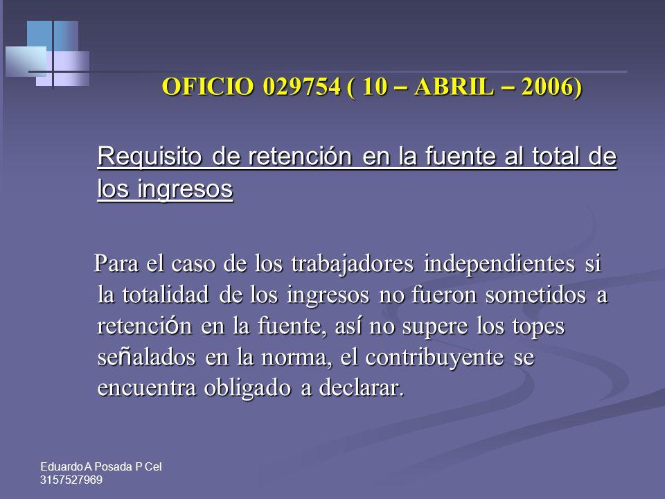 Requisito de retención en la fuente al total de los ingresos