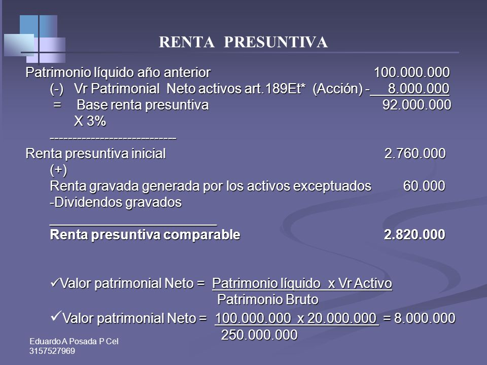 Valor patrimonial Neto = 100.000.000 x 20.000.000 = 8.000.000