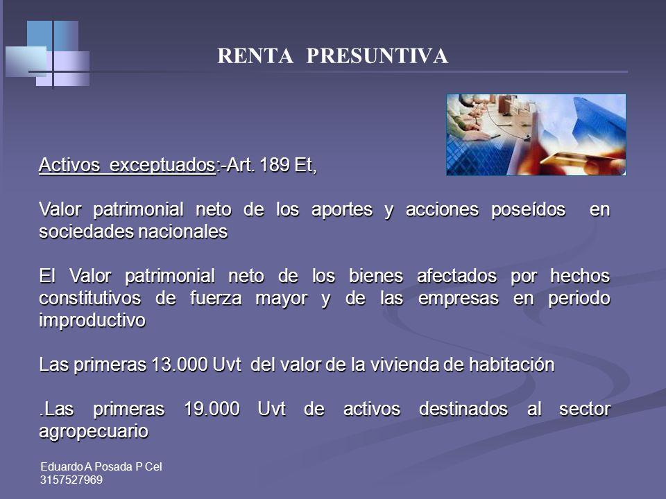 RENTA PRESUNTIVA Activos exceptuados:-Art. 189 Et,