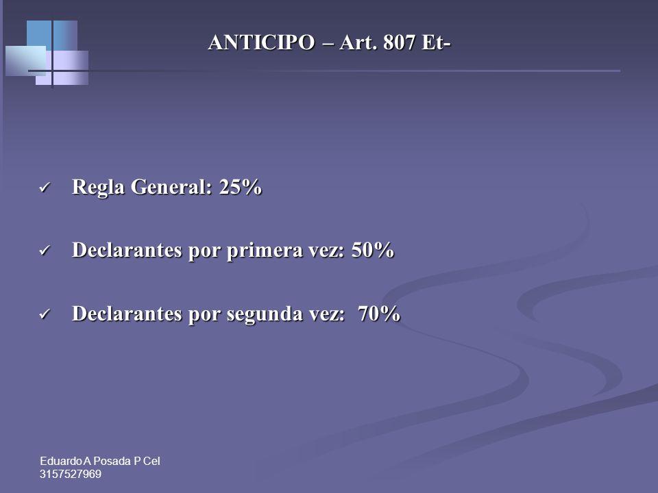 Declarantes por primera vez: 50% Declarantes por segunda vez: 70%