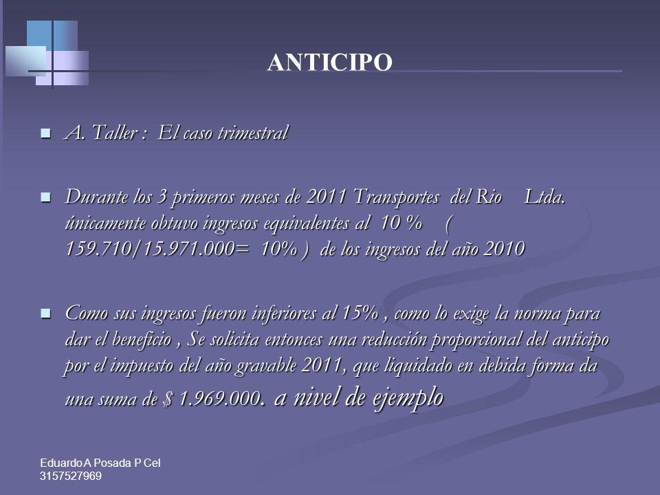 ANTICIPO A. Taller : El caso trimestral