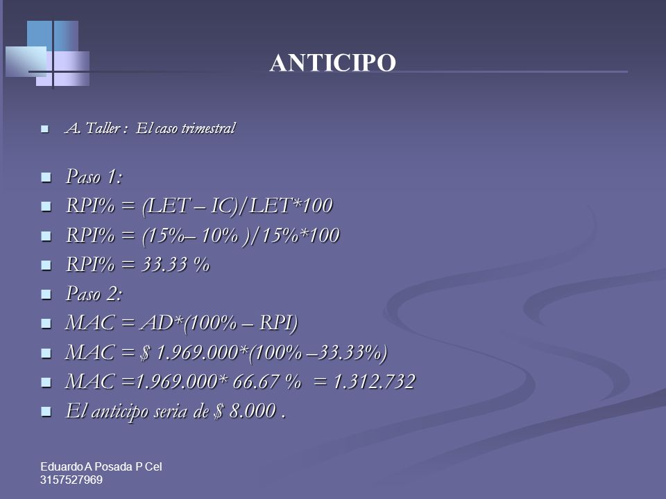 ANTICIPO Paso 1: RPI% = (LET – IC)/LET*100 RPI% = (15%– 10% )/15%*100
