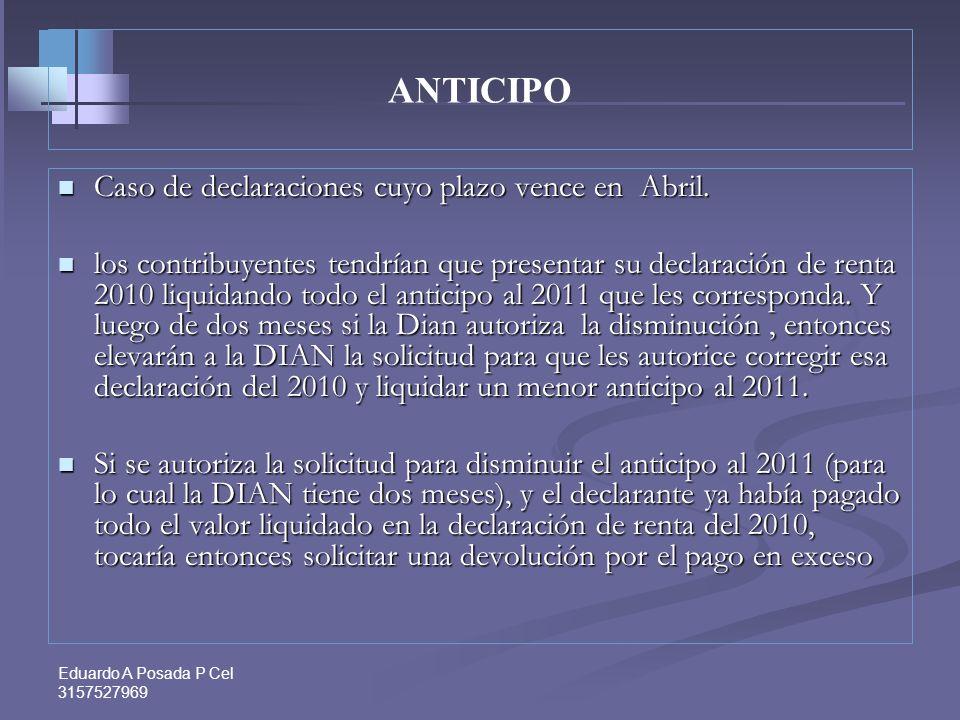 ANTICIPO Caso de declaraciones cuyo plazo vence en Abril.