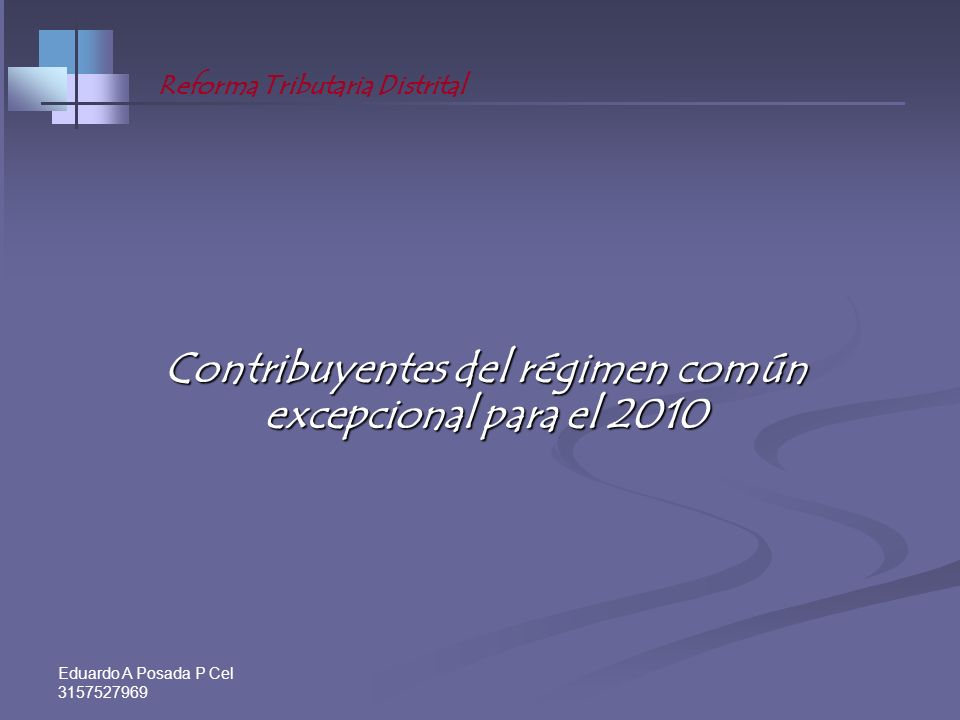 Contribuyentes del régimen común excepcional para el 2010
