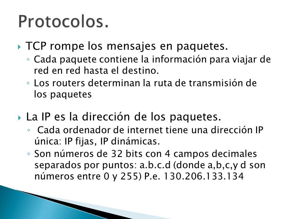 Protocolos. TCP rompe los mensajes en paquetes.