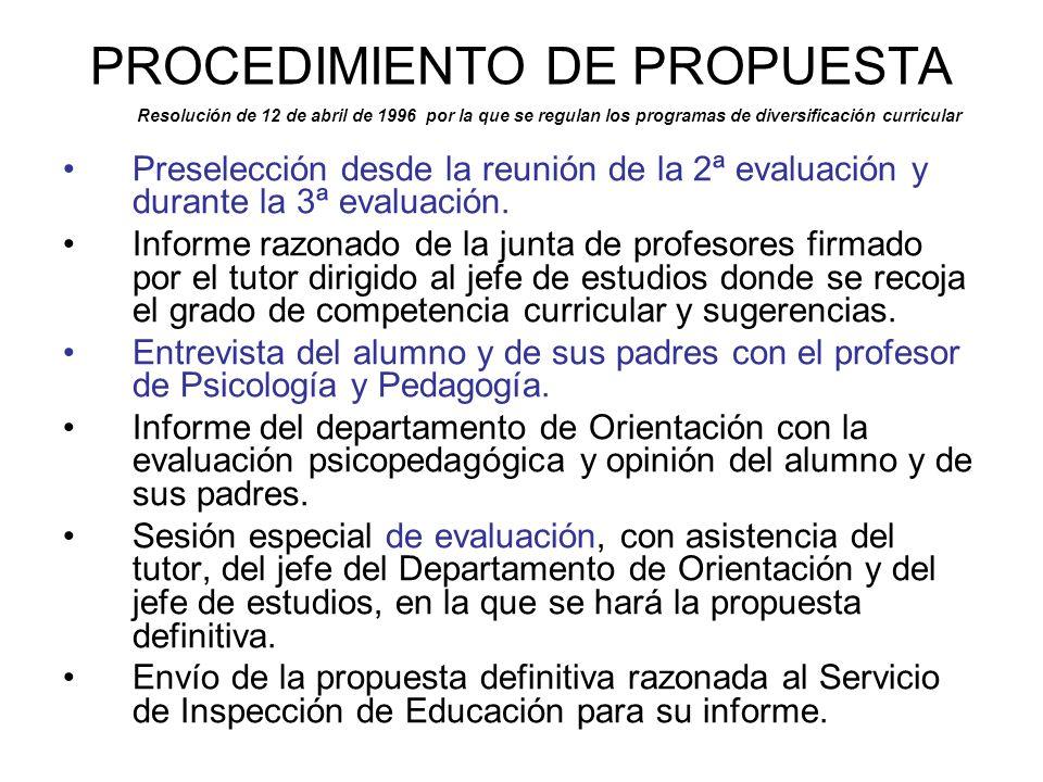 PROCEDIMIENTO DE PROPUESTA
