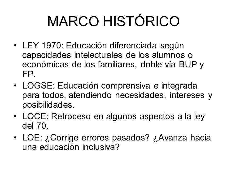 MARCO HISTÓRICO LEY 1970: Educación diferenciada según capacidades intelectuales de los alumnos o económicas de los familiares, doble vía BUP y FP.