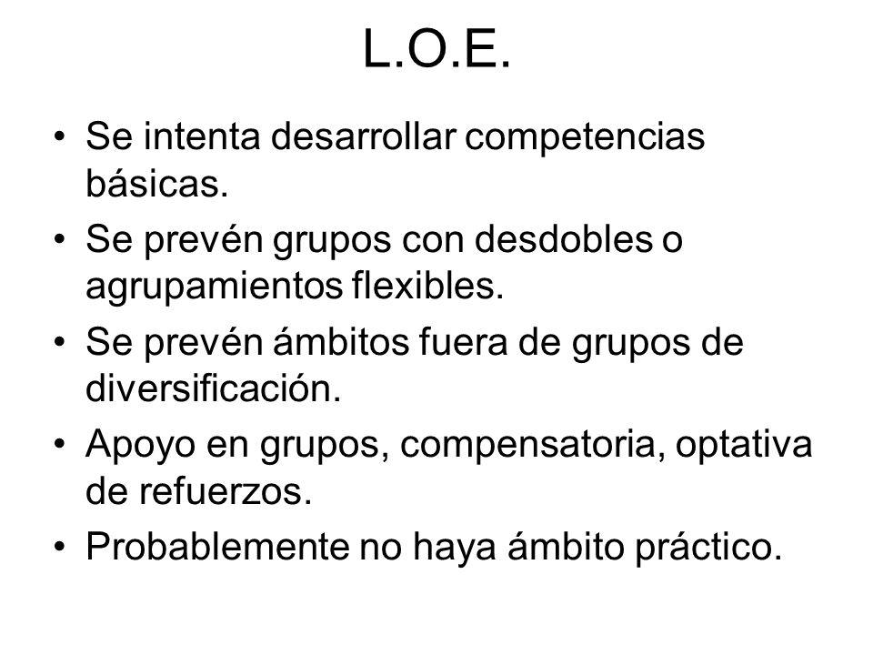 L.O.E. Se intenta desarrollar competencias básicas.